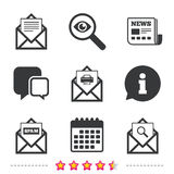 Mail envelope icons. Message document symbols. Mail envelope icons. Print message document symbol. Post office letter signs. Spam mails and search message icons Stock Image