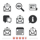 Mail envelope icons. Message document symbols. Stock Image
