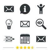 Mail envelope icons. Message symbols. Royalty Free Stock Image