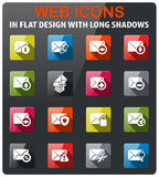 Mail and envelope icons set. In flat design with long shadow Stock Image