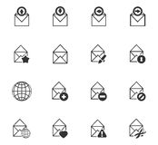 Mail and envelope icons set Royalty Free Stock Photography
