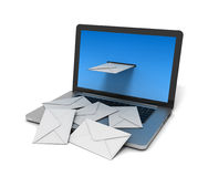 Mail envelope on laptop concept  3d illustration Stock Photography