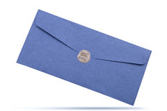 Mail envelope or letter sealed with wax seal stamp closeup Stock Images
