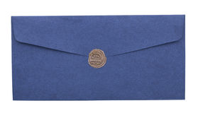 Mail envelope or letter sealed with wax seal stamp closeup Royalty Free Stock Photography