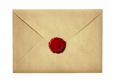 Mail envelope or letter sealed with wax seal stamp Royalty Free Stock Image