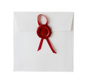 Mail envelope or letter sealed with wax seal stamp Stock Images