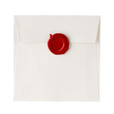 Mail envelope or letter sealed with wax seal stamp Stock Image