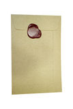 Mail envelope for letter sealed with wax seal stamp isolated on Royalty Free Stock Photos