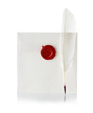 Mail envelope or letter sealed with wax seal stamp and quill pen Stock Photo