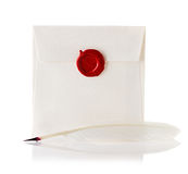 Mail envelope or letter sealed with wax seal stamp and quill pen Royalty Free Stock Photography