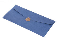 Mail envelope or letter sealed with wax seal stamp Royalty Free Stock Photo