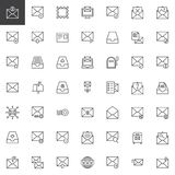 Mail and envelope line icons set stock illustration