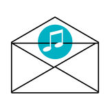 Mail envelope with media icon and colorful circle,  graphi Stock Photo