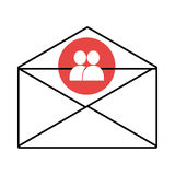 mail envelope with media icon and colorful circle,  graphi Royalty Free Stock Photography