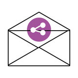 mail envelope with media icon and colorful circle,  graphi Stock Photos