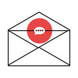 Mail envelope with media icon and colorful circle,  graphi Royalty Free Stock Images