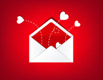 Mail envelope opened with red love hearts  on red background Stock Photography