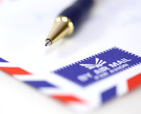 Mail envelope with pen Stock Images