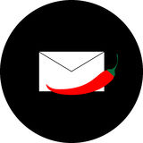 Mail envelope with red pepper on a black background Stock Images
