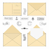 Mail envelope set. Vintage mail envelopes with postal stamps, frames and blank letter. Vector stock illustration