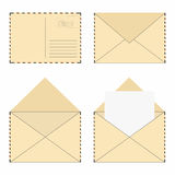 Mail envelope set. Vintage mail envelopes with stamps and blank letter Stock Photography