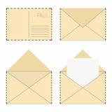 Mail envelope set. Vintage mail envelopes with stamps and blank letter vector illustration
