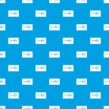Mail envelope with a stamp pattern seamless blue. Mail envelope with a stamp pattern repeat seamless in blue color for any design. Vector geometric illustration Stock Images