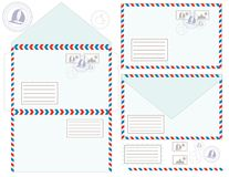 Mail Envelope, Stickers, Stamps, And Postcard, Stock Photography