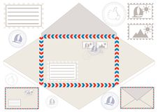 Mail Envelope, Stickers, Stamps, And Postcard Stock Photography
