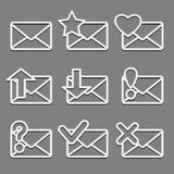 Mail envelope web icons set on dark background. Royalty Free Stock Images