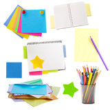 Mail envelopes, notes and  stickers Stock Images