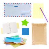 Mail envelopes, notes and stickers. Isolated on white background royalty free stock photo
