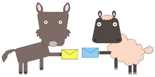 Mail exchange. Illustration of a sheep and a wolf exchanging mails Royalty Free Stock Photo