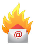 Mail on fire. Illustration design over a white background Stock Images