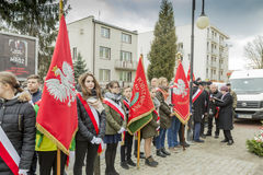Mail flagship school children, National day of remembrance of th. The ceremony dedicated to the soldiers cursed took place today also in Rembertów, at the Royalty Free Stock Image