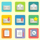 Mail flat icons. Email flat icons set for design vector illustration Royalty Free Stock Photo