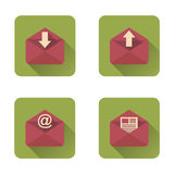 Mail flat icons set with long shadow. Vector illustration Stock Images