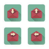 Mail flat icons set with long shadow Stock Photos