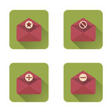 Mail flat icons set with long shadow. Vector illustration Stock Photos