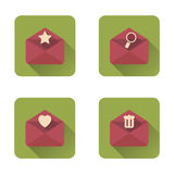 Mail flat icons set with long shadow. Vector illustration Royalty Free Stock Photo