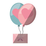Mail flying balloons with heart love design Royalty Free Stock Photography