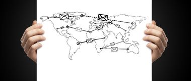 Mail forwarder in map Stock Photos