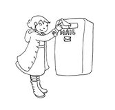 Mail girl. Black and white illustration of a girl who sends a letter Stock Photo