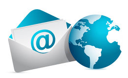 Mail and globe illustration design Stock Image