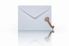Mail and golden key Royalty Free Stock Image