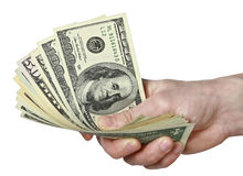 Mail hand holds dollar bills Royalty Free Stock Image
