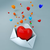 Mail of heart. Heart in open mail on the wall Royalty Free Stock Images