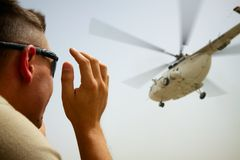 Mail helicopter takes off in Afghanistan Royalty Free Stock Images