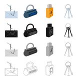 Mail on the hook, the lock with the code, the infected flash drive, the master key for breaking. Hacker and hacking set. Collection icons in cartoon black Stock Images