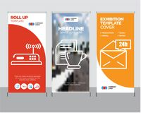 Mail 24 hours, Mail and tea, Router roll up. Mail 24 hours modern business roll up banner design template, Mail and tea creative poster stand or brochure concept Royalty Free Stock Photography